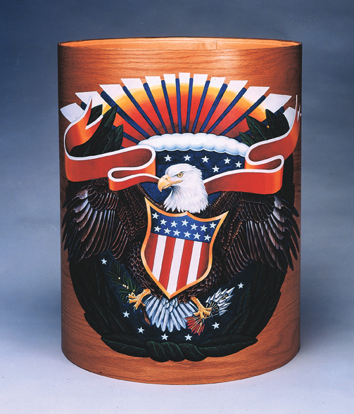 An original acrylic painting on a wood drum shell. It won a silver medal from The Graphic Arts Guild.