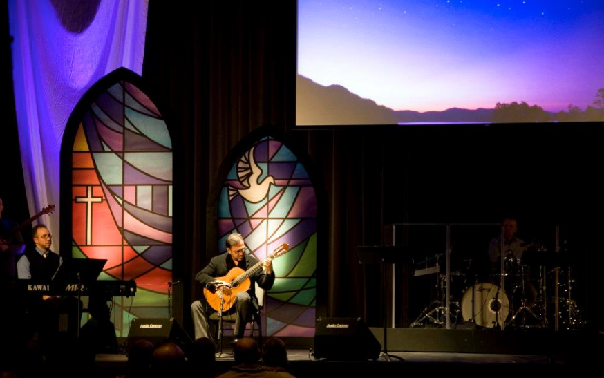 Window design for Calvary Chapel stage for their Christmas service.