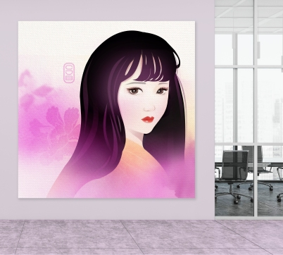 Asian Girl on wall